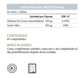 Forever b12, información nutricional