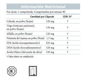 Fields of greens, información nutricional